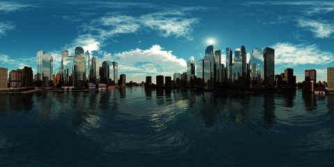 Wall Mural - A modern city above the water. Environment map. HDRI . equidistant projection. Spherical panorama. landscape. 3d rendering