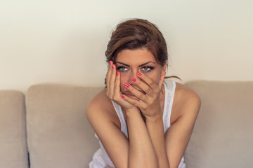 Unhappy Lonely Depressed Woman At Home