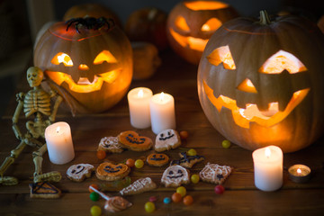 Pumpkin and candy of Halloween