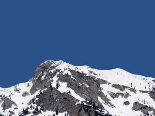 Fototapete - Snowy mountain peak with blue sky