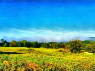 Hand drawing watercolor art on canvas. Artistic big print. Original modern painting. Acrylic dry brush background.    Painting for sale. Beautiful autumn landscape. Yellow green field . Blue sky.