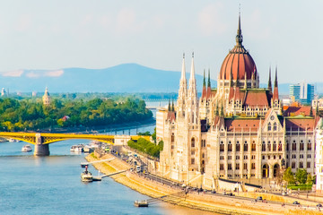 Colorful view of Parliament and Chain Bridge in Budapest city, Splendid spring cityscape of Budapest, Hungary in Europe