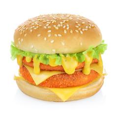 Fish burger isolated