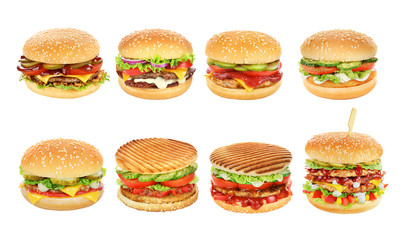Hamburgers set isolated