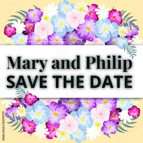 Set of wedding invitations. Wedding cards template with individual.