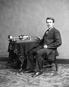 Portrait of  Thomas Alva Edison with phonograph