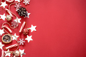 different Christmas decor on a red background