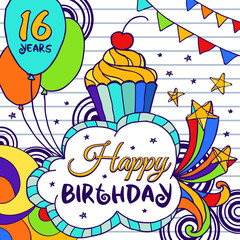 16 year Happy Birthday greeting card with cake, firework ,stars and balloons in bright colors. Vector illustration