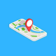 Wall Mural - Gps navigation app on mobile phone. Isometric smartphone isolated on blue background. Tracking system. Vector illustration.