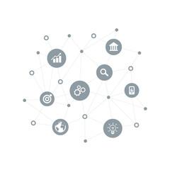 Wall Mural - Business concept. Web technology. Social media banner. Vector Illustration.