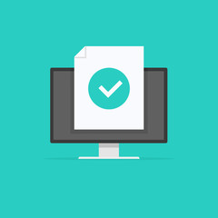 Computer with checkmark, monitor approved tick notification, idea of successful update check mark, accepted checkmark. Vector illustration.