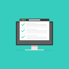 Checklist browser window. Check mark. White tick on Computer screen. Choice, survey concepts. Elements for web banners, websites, infographics. Flat design, vector illustration on background.