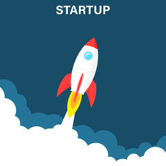 Startup business concept, rocket or rocketship launch, idea of successful business project start up,innovation strategy, boost technology, vector illustration creative background.