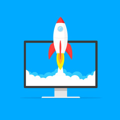 Wall Mural - Startup business concept, rocket or rocketship launch, idea of successful business project start up,innovation strategy, boost technology, vector illustration creative background.