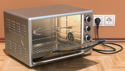 Opened Convection Toaster Oven with Rotisserie and Grill in interior, 3D rendering