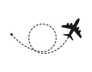 Wall Mural - World travel and tourism concept. Airplane flying above world map. Vector illustration.