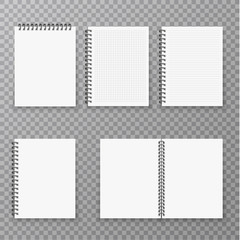Blank open and closed realistic notebook collection, organizer and diary vector template isolated. Paper page organizer and notebook set illustration.