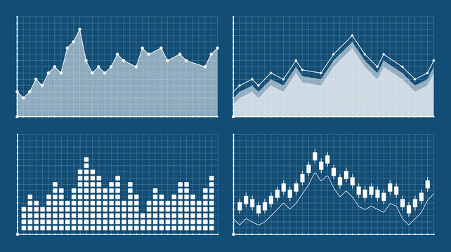 Bar graph and line graph templates, business infographics, vector illustration. Graphs and charts set. Statistic and data, information infographic.