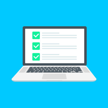 Checklist browser window. Check mark. White tick on laptop screen. Choice, survey concepts. Elements for web banners, websites, infographics. Flat design, vector illustration on background.