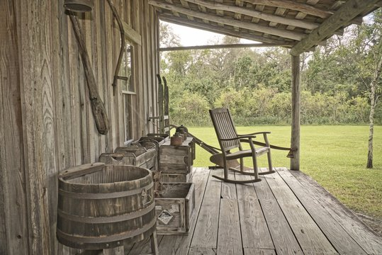 old back porch with chair