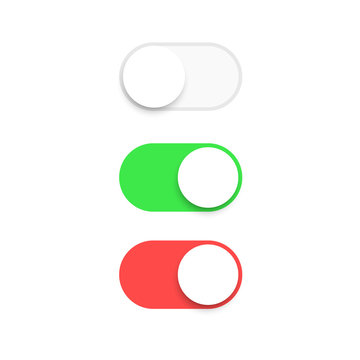 Realistic switch toggle buttons, set or tree sliders in ON and OFF position Vector illustration.