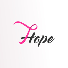 Hope Pink ribbon text for Breast Cancer Awareness