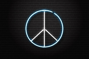 Vector realistic isolated neon sign of peace for decoration and covering on the wall background. Concept of Happy International Peace Day.