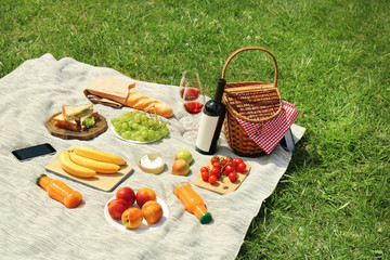 Wicker basket and food on blanket in park. Summer picnic