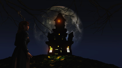 Fototapete - 3D female looking at a spooky castle against a moonlit sky