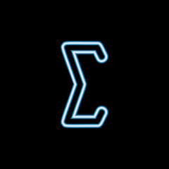 sigma sign icon in neon style. One of web collection icon can be used for UI, UX
