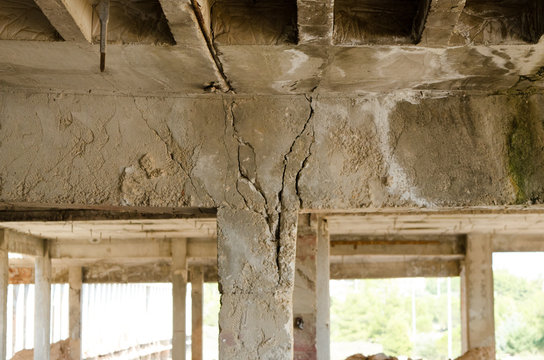 Imperfections arising from weak constraction, necking weak column areas. After earthquake