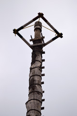 close up of pole for dance of the flyers in Puebla Mexico