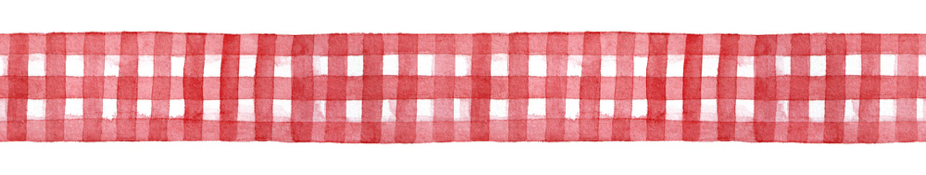 Red and white checkered gingham ribbon, decorative seamless template. Cute country style traditional element for design, craft, home decor. Hand drawn watercolour graphic illustration, cutout clipart.
