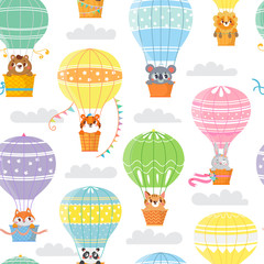 Seamless pattern with colorful  hot air balloons and funny animals. Vector illustration.