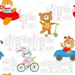 Seamless pattern with funny animals. Kids transport.Dog, tiger, rabbit, bear. Vector illustration on white background
