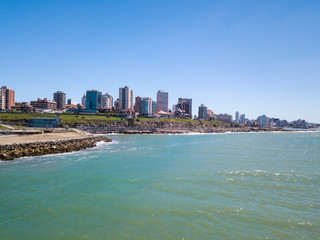 Sky view of Mar del Plata Argentina – high resolution drone photo of the Argentinian coast and downtown area of Mar del Plata Casino Central in spring time.  Buenos Aires Capital Federal district