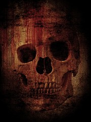 A human skull with a bloody effect against a background of grunge texture. Suitable for Halloween, Horror, Gothic, or Satanic themes