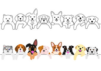 cute pups border set