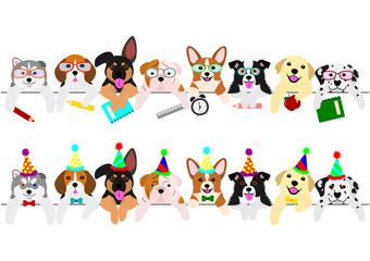 cute pups border set, with school items and with party hats and ties
