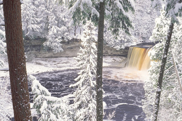 Wall Murals Lavender Tahquamenon Falls Michigan, Winter.
