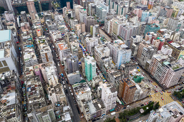 Top view of Hong Kong apartment building