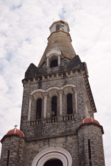 front view of rosette and bell tower of Parroquia de San Francisco de Asís