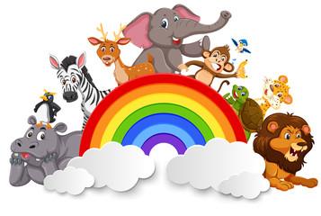 Wild animals and rainbow template