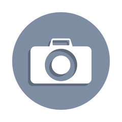 camera icon in badge style. One of web collection icon can be used for UI, UX