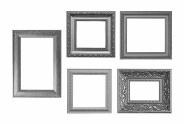 Set of grey vintage frame isolated on white background.