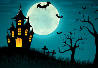 Vector halloween castle background design