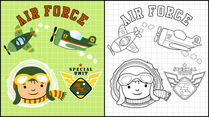 Vector illustration of coloring book or page with pilot cartoon and planes