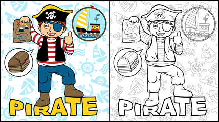 Vector illustration of coloring book or page with pirate cartoon