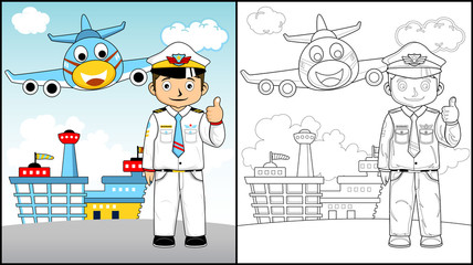 Vector illustration of coloring book or page with pilot cartoon