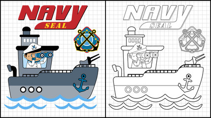 Vector illustration of coloring book or page with gunboat cartoon